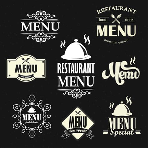 menu design label restaurant menu labels vintage vector free vector in