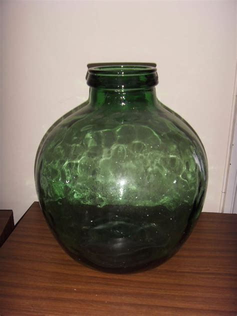 large green glass  vase globe bottle jar