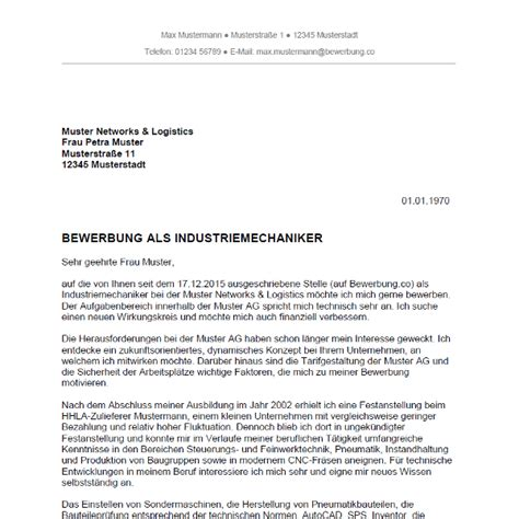 Bewerbungsschreiben Ausbildung Maschinen Und Anlagenführer Bewerbung Als Industriemechaniker Industriemechanikerin Bewerbung Co