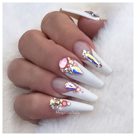 white bling coffin nails nail art gallery