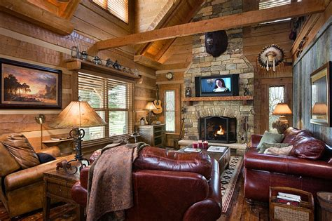 log home decor log home with barn wood and western decor traditional