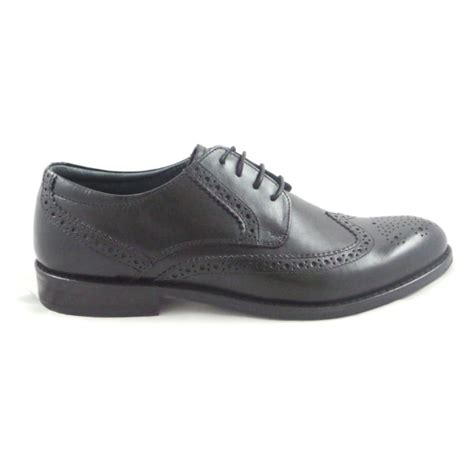 mens black leather lace up brogue shoe from