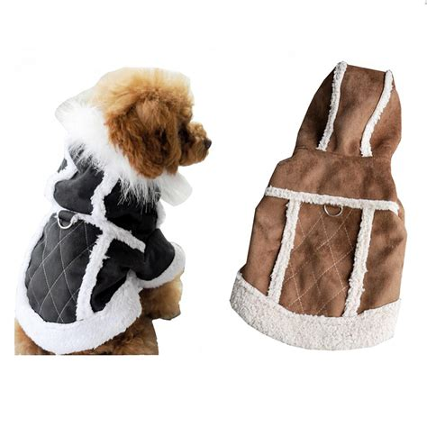 coats for dogs clothing for dogs suede warm winter hoodie small clothes pet coat coat harness