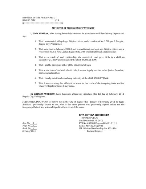 Acknowledgement Letter Paternity Affidavit Of Admission Of Paternity