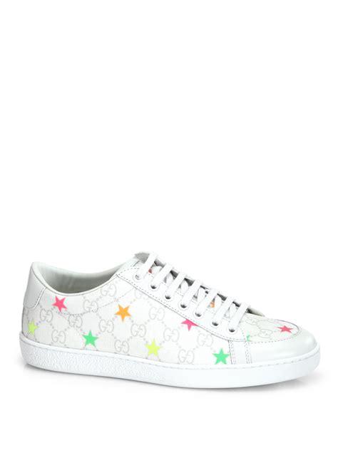 gucci white sneakers gucci gg supreme canvas leather sneakers in