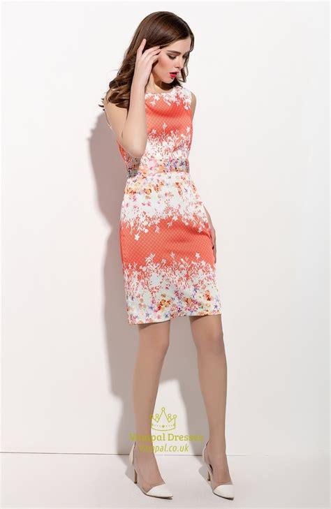 Dress Wanita Orange casual summer orange and white sleeveless floral print
