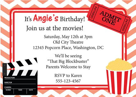 printable birthday invitations movie movie invitation printable google search drive in