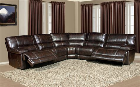 power reclining leather sectional pegasus 5 piece power reclining sectional in nutmeg