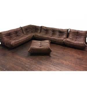 sofa set togo michel ducaroy ligne roset brown leather