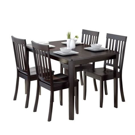 Walmart Dining Room Sets Corliving Atwood 5 Dining Set With Cappuccino Stained Chairs Walmart Ca