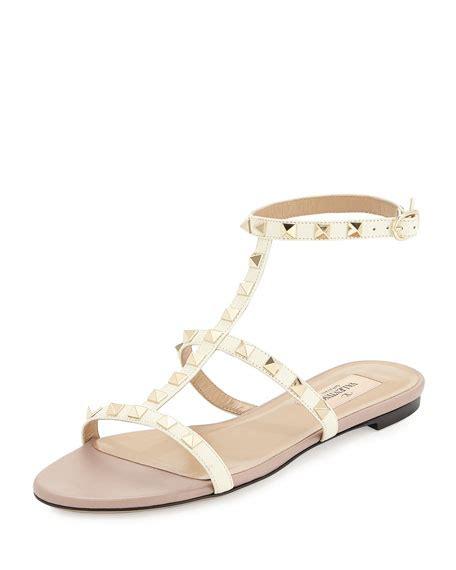 ivory flat sandals valentino garavani rockstud ankle flat sandal ivory