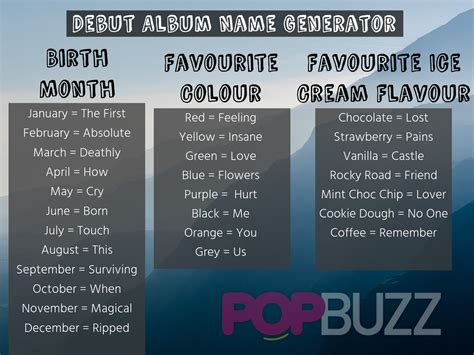 political biography title generator what should you name your debut album popbuzz