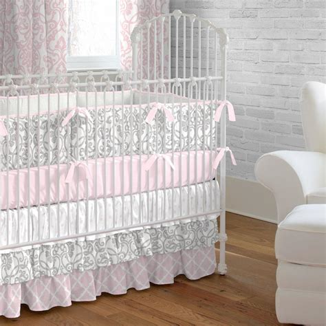 Pink And Gray Filigree Crib Skirt Three Tier Carousel Baby Crib Bedding