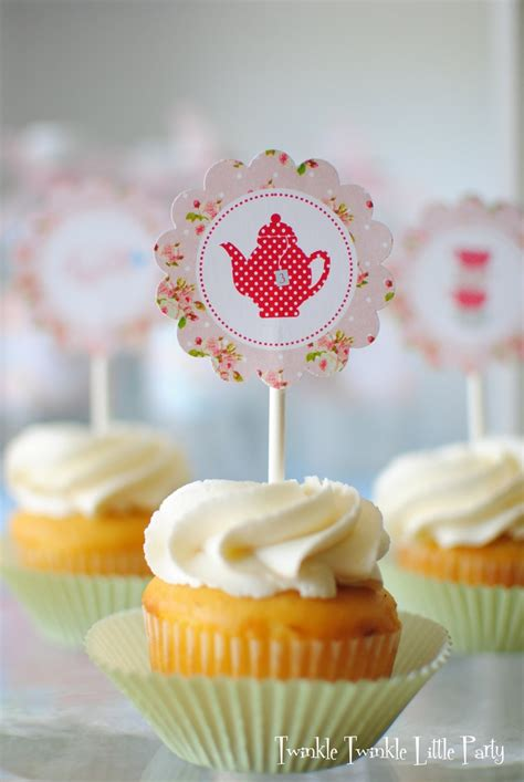 pink floral shabby chic printable cupcake toppers