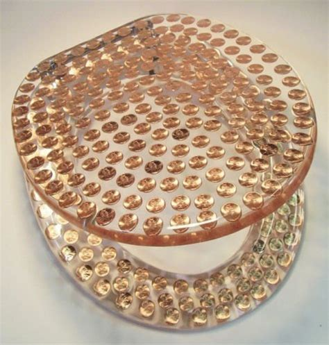 real  pennies coins money lucite resin toilet seat