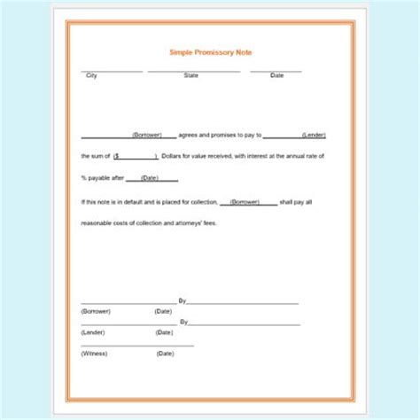 promissory note templates 5 free sles and formats