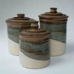 Brown Kitchen Canisters by Kitchen Set Of 3 Canisters Brown Blue Gray Oatmeal Ceramic