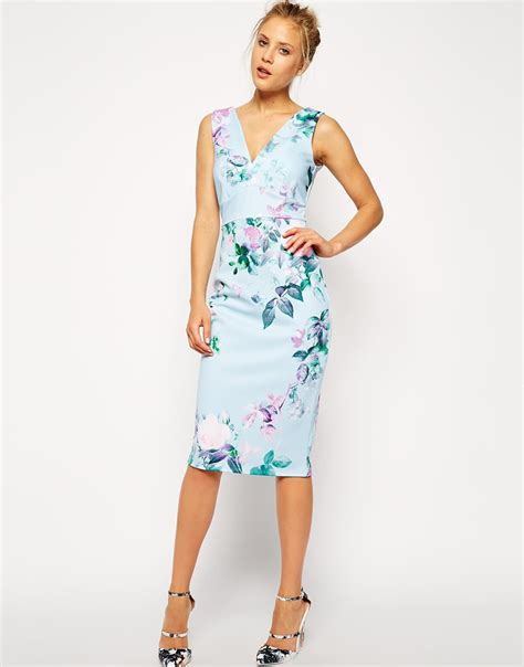 Flowery Dress asos blue floral pencil printed conscious dress in blue lyst