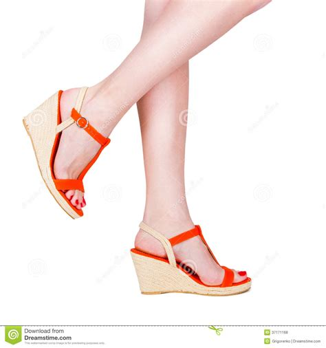 wearing sandals legs wearing of sandals royalty free stock photos