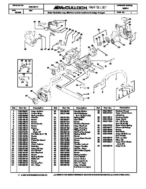 Mcculloch M3816 Chainsaw Service Parts List