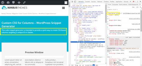 creating css columns custom css for columns wordpress snippet generator