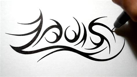 tribal tattoo with name drawing tribal name design louis