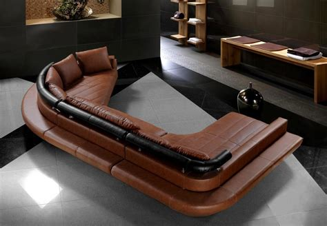 Ultra Modern Black Leather Sectional Sofa Set With Large Ultra Modern Sofa
