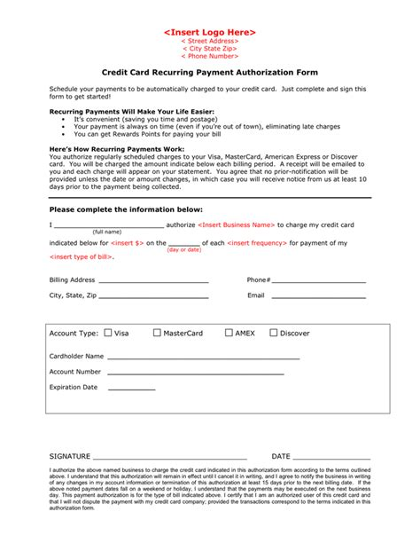 credit card recurring payment authorization form in word