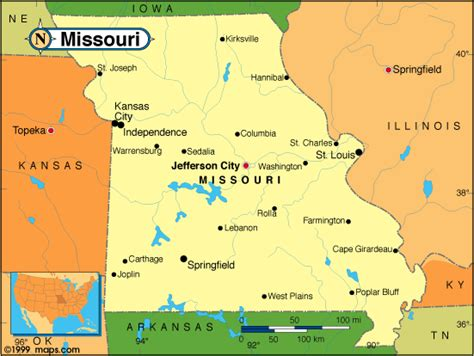 missouri on a map of the usa missouri map united states of america