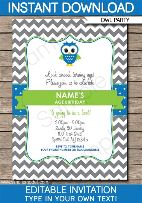 Owl Birthday Party Invitations Owl Invitations Template Pac Birthday Invitation Template