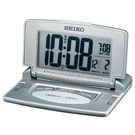 seiko lcd travel desk alarm clock with dual time calendar grey silver qhl021n sustuu