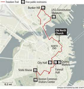 Boston Freedom Trail Map by Map Public Bathrooms On The Freedom Trail