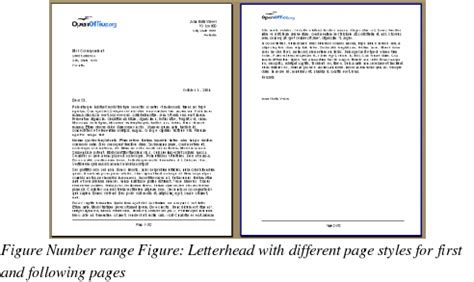 Official Letterhead Definition Openoffice Writer Defining A Different Page For A Document