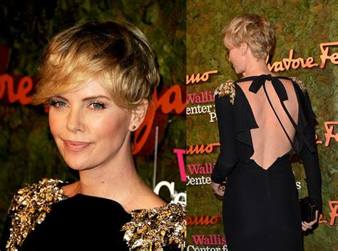 how to style your hair while a pixie grows out short cut saturday charlize theron hair romance