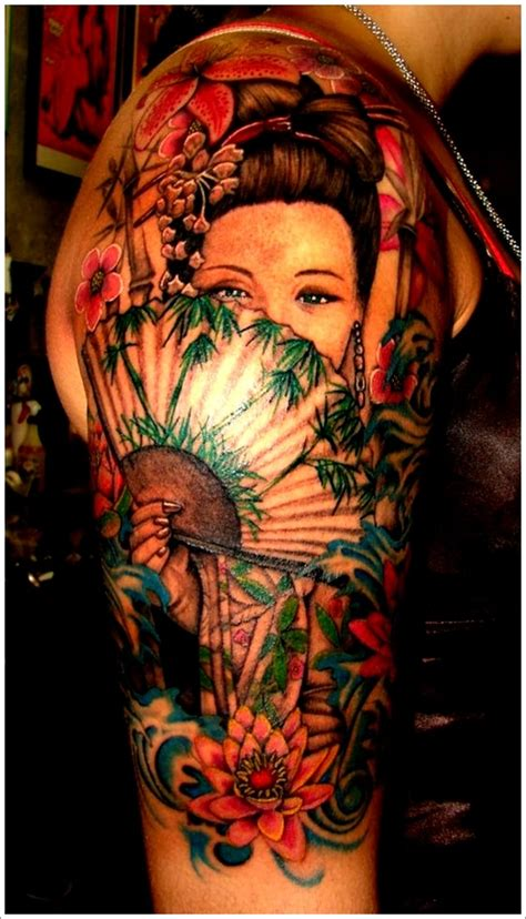 geisha tattoo black and gray 52 japanese geisha tattoos ideas and meanings