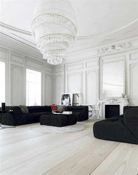 interior design living room black and white parisian apartment living with large white chandelier and black lounges interior design ideas