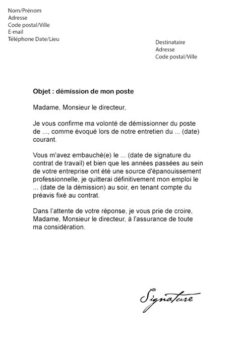 Exemple De Lettre De Motivation Par Mail Lettre De D 233 Mission Par Email Mod 232 Le De Lettre