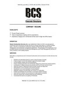 company description on resume construction company resume template resume template 2017