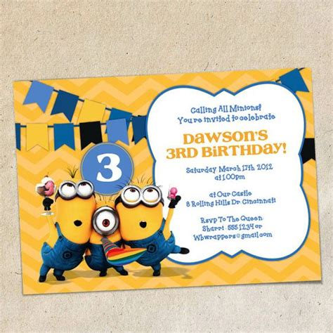 minion invitations template bunting invitation invitation templates and buntings on