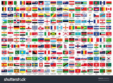 flags of the world order 216 official flags world alphabetical order stock vector