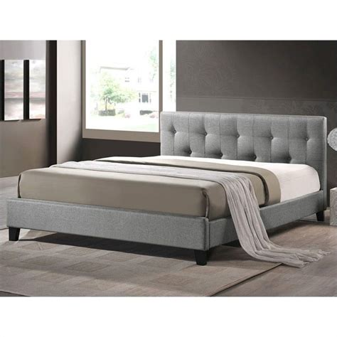 over the headboard reading l annette platform bed with upholstered headboard in grey