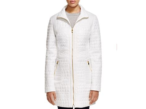 Via Spiga Quilted Coat by Via Spiga Crocodile Quilted Zip Front Coat In White Lyst