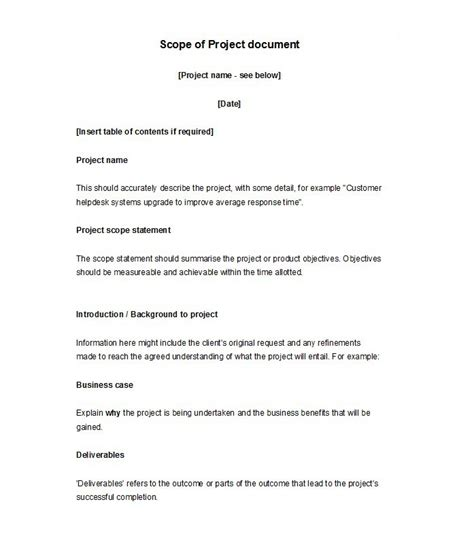 30 Ready To Use Scope Of Work Templates Exles Scope Of Work Template Doc