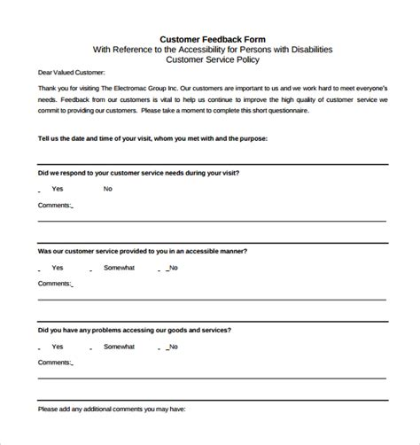 customer feedback forms exles sle service feedback form 11 free documents