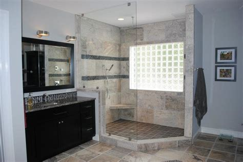 travertine river rock shower travertine tile with river rock accents rain can shower