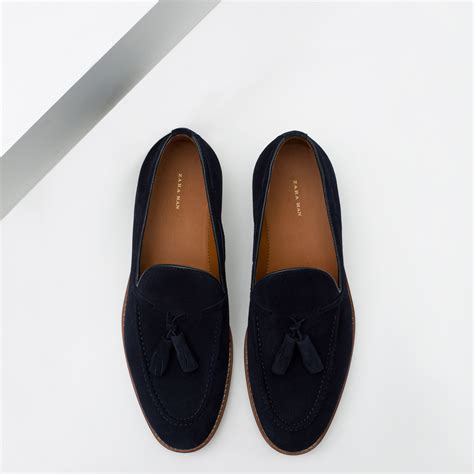 Zara Tassel Original zara split suede tassel loafers in blue for lyst