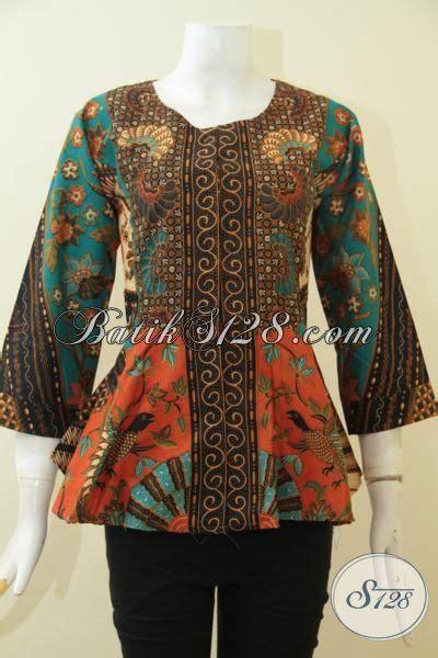 blus batik modern desain tanpa kerah pakaian batik elegan
