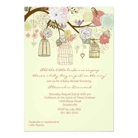 Baby Shower Bird Theme Invitations by Nest Baby Shower B Lovely Events