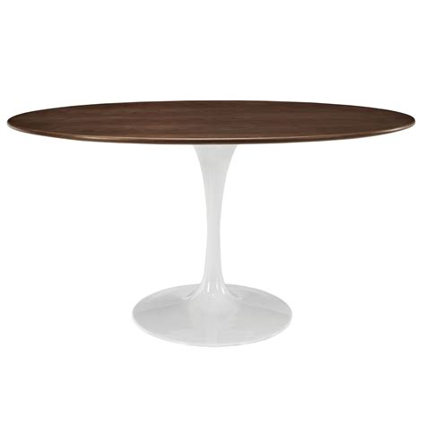 Lippa 60 Quot Oval Shaped Walnut Top Dining Table With Oval Shaped Dining Tables