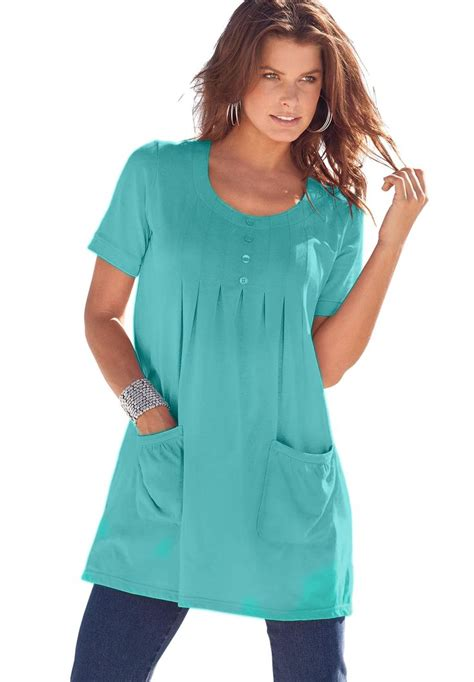 pocket tunik blouse trapeze tunic with 2 pockets plus size tops tees